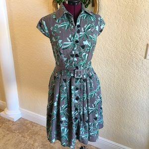 eShakti Gray Green & Black Printed Dress - Sz XS 2